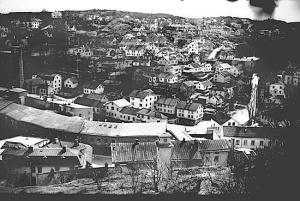 Vy över Mölndals kvarnby, tidigt 1900-tal.