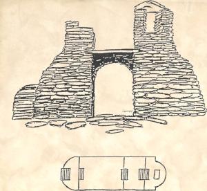 Grundplanen för den uppbyggda ruinen på Labbra överensstämmer med grundplanen för en romansk kyrka med kor och altare i öster och torn i väster. (Skiss av Lars Gahrn.)