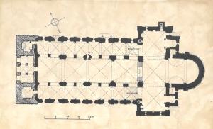 Lunds domkyrkas grundplan liknar kyrkoruinens. I väster finns två torn och i öster den i konsthistorien berömda halvrunda absiden. Friherrinnan Martina von Schwerin bodde långa tider i Skåne, närmare bestämt på Sireköping tre mil utanför Lund. Hon har givetvis varit väl bekant med denna berömda domkyrkobyggnad.