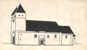 Kyrkan i Vä i Skåne såg ut ungefär så här vid mitten av 1100-talet. Den hade två (nedtill sammanbyggda) torn i väster och en halvrund absid i öster. Dess grundplan liknade kyrkoruinens.