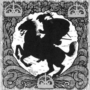 """Karl XII rider – som vanligt mycket snabbt. Bokomslag till H. E. Uddgrens bok """"De tappraste"""" (1916)."""