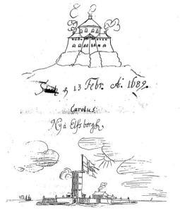 Två teckningar (Skansen Lejonet och Älvsborgs fästning), som Karl XII utförde i sin barndom.