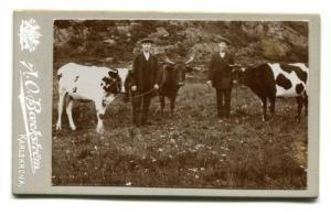 Ännu några år in på 1900-talet var Toltorpsdalen en obebodd utmark, som tillhörde Toltorps by. Häruppe gick toltorpsbornas kor på bete. År 1906 blev bröderna Henric och Axel Andersson (senare Hallmar) fotograferade med två kor ungefär 100 meter norr om platsen, där Toltorpskyrkan senare byggdes. (Foto: A. O. Baeckström, Karlskrona. Mölndals Hembygdsförenings arkiv.)