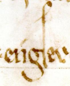 Detta är första skrivningen för namnet Engsev. Bokstaven s går en bra bit under raden och avslutas med en spets nedåt. I bägge dessa avseenden avviker s från l.