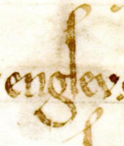 Detta är andra skrivningen av namnet Engsev. Bokstaven s går denna gång visserligen inte under raden, men den avslutas nedåt med en spets. På grund av bokstaven g:s krök kan s inte dras under raden.
