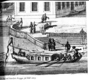 Om man skulle färdas till Engsö, kunde man med fördel åka båt. Skalden Olof von Dalin har beskrivit en sådan båtresa till Engsö. Erik Dahlberg tecknade denna slup, som lägger till vid Sturehovs brygga. Även Engsö har en liten hamn.