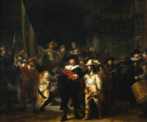 """Rembrandts kända målning """"Nattvakten"""" (sentida namn) borde snarare kallas """"Dagvakten"""", ty soldaterna är avbildade mitt på dagen, men de står delvis i skugga, och skuggan har blivit djupare på grund av fernissa och färgförändringar."""