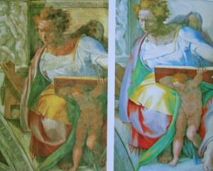 Michelangelos fresker i Sixtinska kapellet i Peterskyrkan i Rom framstår som mycket färgstarkare efter rengöring och restaurering.