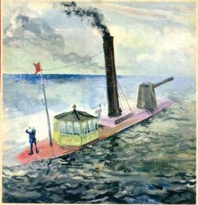"""Don Jeronimo den Lycklige, storhertigdömet Minorcas (uppdiktade) monitor.  (Akvarell av Martin Lamm som omslag till boken """"Storhertigens finanser"""".)"""