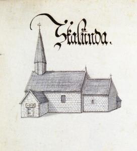 Skalunda kyrka ses på en av de många utmärkta kyrkteckningarna.