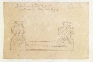 I fråga om Kettil runskes föregivna grav har tecknaren av allt att döma övertolkat de skrovliga stenkorsen.