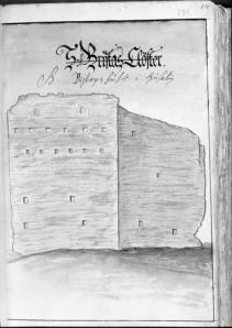 Biskopsborgen troddes till att börja med ha varit ett kloster, men den felaktiga uppgiften är överstruken.