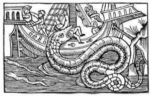 Sjöodjur trodde man på ännu under 1500-talet, men när de Miranda besökte Norge, trodde ingen av de upplysta längre på sådana varelser. Träsnitt från Olaus Magnus.