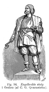 Så har föreställde man sig att Engelbrekt såg ut. Bildhuggaren Carl Gustaf Qvarnströms staty blev stilbildande för befrielseledarens utseende.