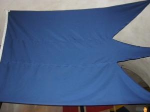 Den svenska skärgårdsflottans flagga var tretungad och helt blå.