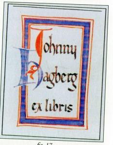 Johnny Hagbergs exlibris liknar en sida ur en   medeltida handskrift.