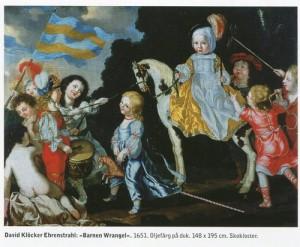 Denna oljemålning av Carl Gustaf Wrangels barn visar, att flaggan med vågiga ränder var gul och blå.