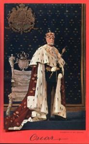 """Oscar II i konungaskrud sades vara """"en konung i varje tum"""". Oljemålning av Emil Österman."""