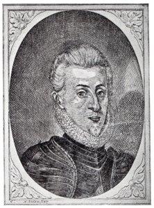 """Föga mer än ett barn kastades Gustaf II Adolf ut i brännefejden och lärde sig att """"anfall är bästa försvar"""". Träsnitt från 1616."""