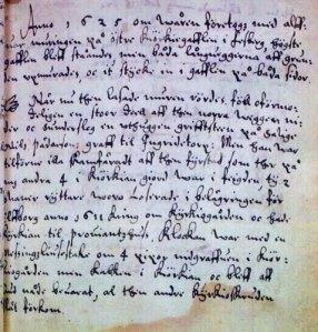 Fässbergs äldsta kyrkobok berättar i efterhand om vad som hände med Fässbergs gamla kyrka under brännefejden.