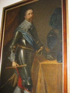 Gustaf II Adolf i rustning (som han sällan bar). Oljemålning i Göteborgs Universitets huvudbyggnad.