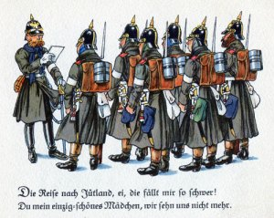 Tyska soldater på väg mot Danmark för att erövra Slesvig och Holstein. (Stormakter är farliga grannar!) Bild av Fritz Kredel.