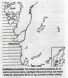 UTMÄRKTA PLATSER. Två viktiga stenåldersboplatser är utmärkta på denna karta, nämligen Nösund på Orust och Hultet i Kållered. Illustration till en av Lou Schmitts artiklar (2005).