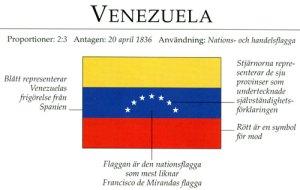 Venezuelas flagga. Text i bilden: VENEZUELA. Proportioner: 2:3. Antagen: 20 april 1836. Användning: Nations- och handelsflagga. Blått representerar Venezuelas frigörelse från Spanien. Stjärnorna representerar de sju provinser som undertecknade självständighetsförklaringen. Rött är en symbol för mod. Flaggan är den nationsflagga som mest liknar Francisco de Mirandas flagga.