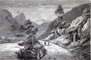 Denna väg tågade skottarna fram med sina säckpipsblåsare. Till höger ses ett tidigt minnesmärke över skottarnas nederlag.