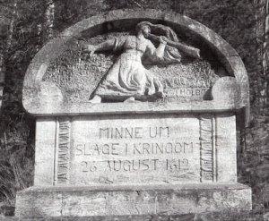 1912 års minnessten med flickan, som blåste signal åt det norska bondeuppbådet.