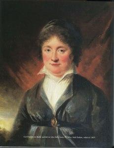 Christina Hall från Göteborg och Gunnebo gjorde många resor till Loka. Text i bild: Carl Fredrik von Beda; porträtt av John Halls hustru Christina, född Gothén, målat år 1807.
