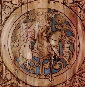 Ridande konung på målning i Dädesjö kyrka.