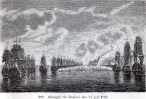 Sjöslaget vid Hogland innebar, att den svenska och den ryska flottan seglade på linje bredvid varandra och besköt varandra med all kraft. Text i bild: Sjöslaget vid Hogland den 17 juli 1788.