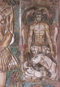 Herkules infångar Diomedes' hästar.
