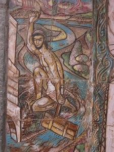 Herkules renar Augias' stall genom att dämma upp en flod och leda vattnet genom stallet.