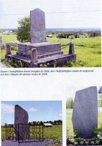 Några av Ol Pålsas minnesstenar. Text i bild: Stenen i Yxskaftkälen överst invigdes år 1924, den i Raftsjöhöjden nedan är osignerad och den i Ottsjön till vänster restes år 1924.