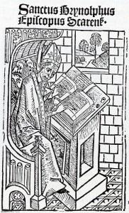 Biskop Brynolf Algotsson. Träsnitt från 1400-talet.