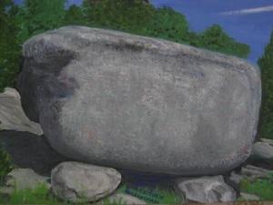 Jättestenen i Hulelyckan, nära Sven Evert Nilssons föräldrahem. Målning av Sven Evert Nilsson.