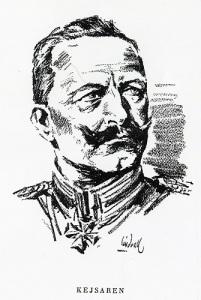 Kejsar Wilhelm II lade an på att se bister och skräckinjagande ut. Teckning: Gunnar Lindvall.