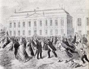 Stormande glädje utanför Riddarhuset. Adeln hade avskaffat sitt eget politiska inflytande!