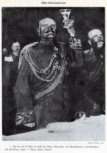 Tyska officerare skålar för kejsarens seger under den senaste höstmanövern. (Skämtteckning av Eduard Thöny, 1910.)