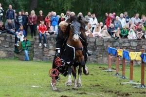 Gräfsnäs svarta riddare, Kerstin Stråhlesköld, fångar upp ringar på svärdet. Foto: Anna Lynx.