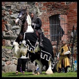 Gräfsnäs svarta riddare, Kerstin Stråhlesköld, på stridshästen Harley.