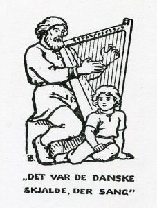 Bilden visar hur man tänkte sig vikingatidens skalder. (Bilden är hämtad ur Folkehöjskolens sangbok, Odense 1974.)