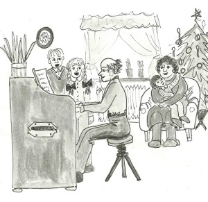 Familjen Carlsson i Lindome sjunger och spelar på julafton. Teckning: Ulla Enalid Thomsen.