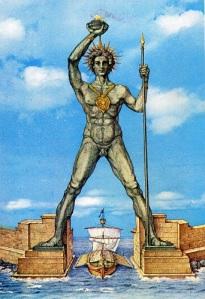 Kolossen på Rhodos förefaller att ha varit mera bildskön än Pinocchio. Sentida rekonstruktionsbild.