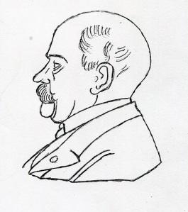 Kammarherre Magnus Lagerberg på äldre dagar enligt en medaljbild, avtecknad av Lars Gahrn.