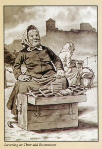 En bra bild av en kvinna, som säljer Kungälvs pepparkaka med Bohus fästning i bakgrunden.