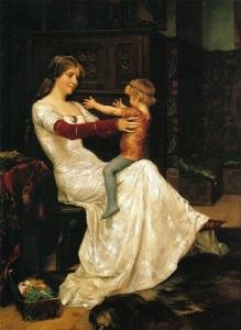 Drottning Blanka och en av hennes söner. Målning av Albert Edelfelt 1877.