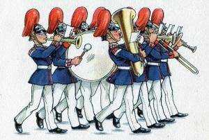 En musikkår på den gamla tiden behövde inte vara stor. Denna består av åtta musikanter. Teckning: Fritz Kredel.